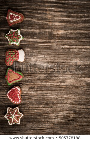 christmas tree and red boot from gingerbread,  x-mas cookies Stock photo © caimacanul