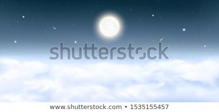 éjszaka tájkép felhős csillagos ég panoráma hold Stock fotó © Juhku