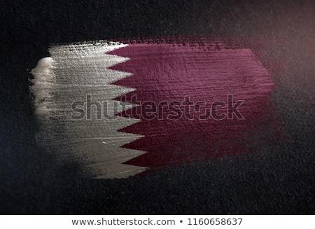 Katar ülke bayrak harita biçim metin Stok fotoğraf © tony4urban