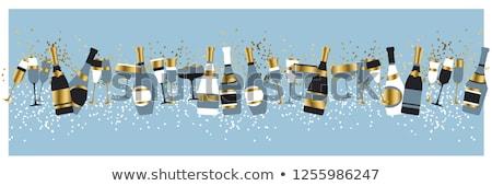 Szampana okulary butelki obraz dwa rozmycie Zdjęcia stock © w20er