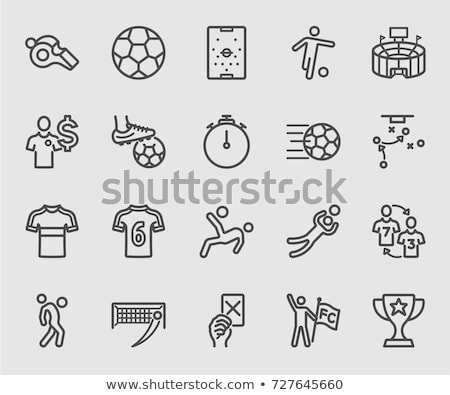 soccer player with ball line icon stock photo © rastudio