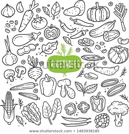 Stock photo: Doodle vector set of vegetables
