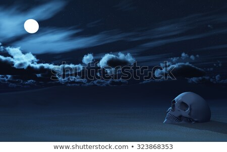 3D skull partially buried in sand against night sky Stock photo © kjpargeter