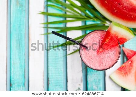 Fresh fruit pieces on green tray stock photo © ozgur