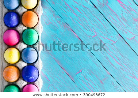 Festive Easter border of hand dyed eggs Stock photo © ozgur