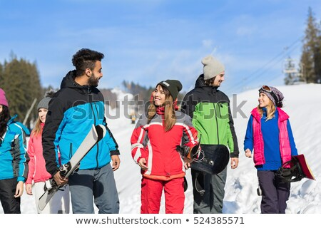 iki · kadın · arkadaşlar · kış · kar · dağlar - stok fotoğraf © dash