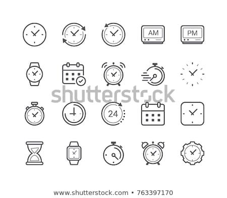 Stockfoto: Muur · klok · lijn · icon · hoeken · web