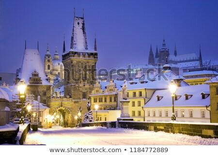 ночь · Прага · Чешская · республика · здании · свет · снега - Сток-фото © digifoodstock