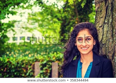 Jeune femme vert blazer illustration blanche Photo stock © bluering