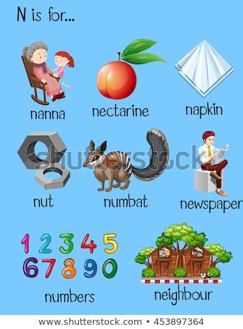 Különböző szavak n betű illusztráció újság háttér Stock fotó © bluering