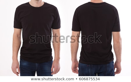 woman and man wearing blank black shirt front and back stock photo © sumners