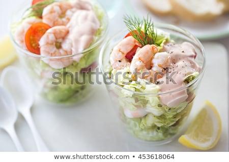 Garnéla koktél felszolgált kristály hal gyümölcs Stock fotó © pedrosala