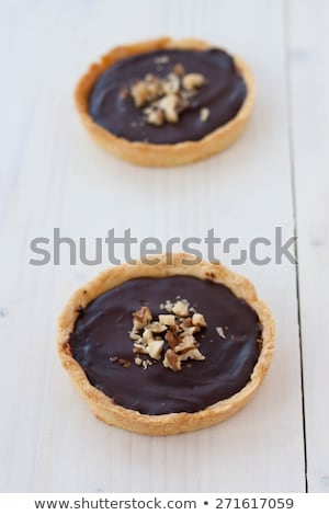Klein chocolade hazelnoot gebak vulling voedsel Stockfoto © Digifoodstock