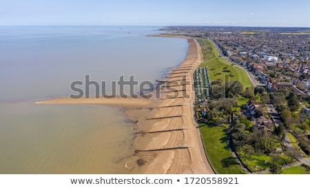 Aerial scene of huts and beach Stock photo © bluering