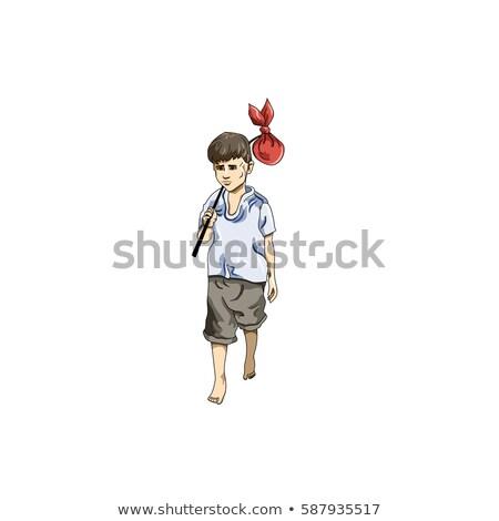 menino · cotidiano · caminhada · para · cima · pose · branco - foto stock © istanbul2009