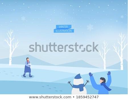 Foot prints on snow Stock photo © zurijeta