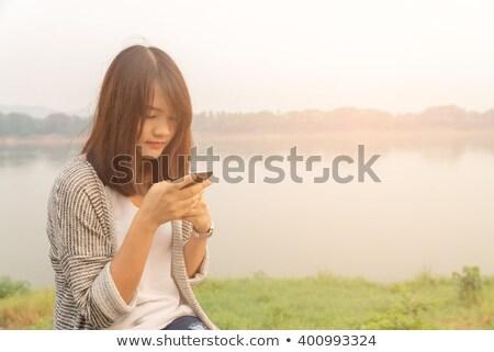 серьезный · разговор · женщину · лысые · сотового · телефона · женщины - Сток-фото © stevanovicigor