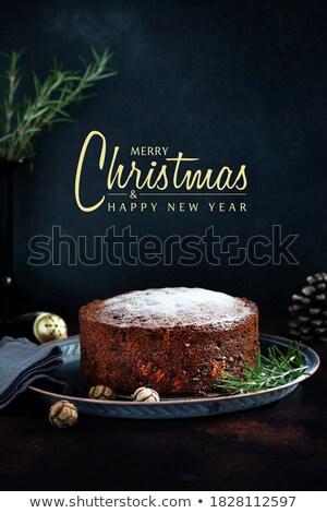 Gyümölcstorta szöveg boldog ünnepek közelkép tábla Stock fotó © nito