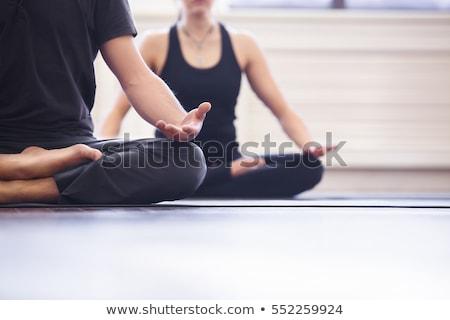 Yoga adam stüdyo beyaz eğitim karga Stok fotoğraf © cynoclub