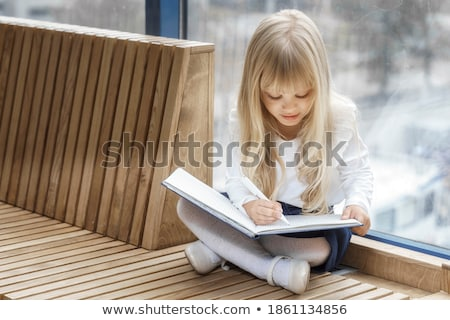 Cute little five year old girl writing to Santa Stock photo © ozgur