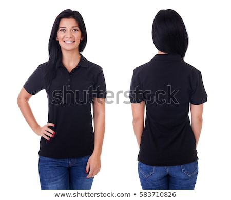 Młodych brunetka pretty woman czarna sukienka stwarzające biały Zdjęcia stock © iordani