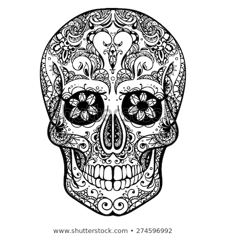Black and white decoration human skull. Day of Dead Stock photo © orensila