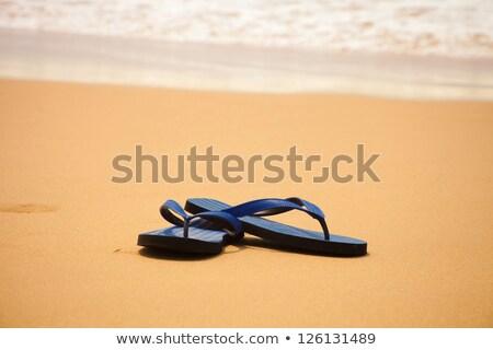 Plaży sandały żółty niebieski ilustracja projektu Zdjęcia stock © bluering