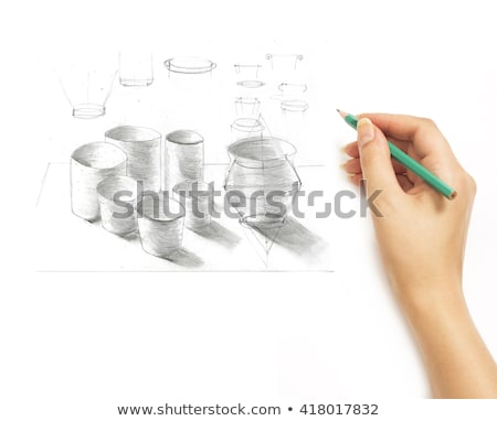 Hand draws a pencil items cookware on a white Stock photo © vlad_star