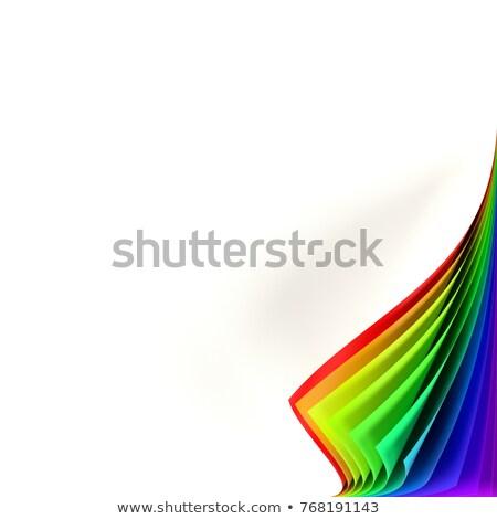 Stockfoto: Vierkante · sticker · omhoog · regenboog · gekleurd · gekruld