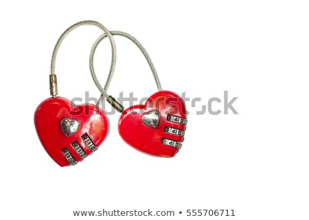 Foto stock: Rojo · forma · de · corazón · bloqueo · aislado · blanco