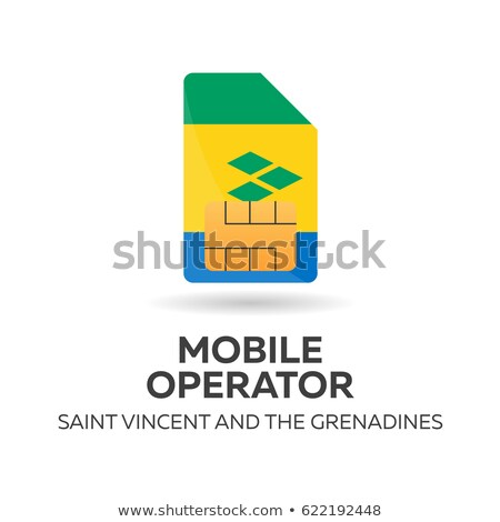 Saint Vincent and the Grenadines mobile operator. SIM card with flag. Vector illustration. Stock photo © Leo_Edition