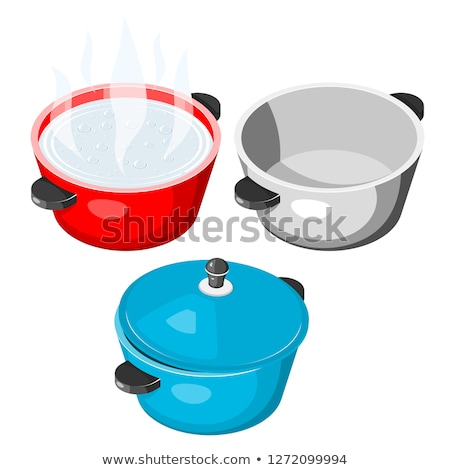 Red saucepan lid isolated isometric. Utensils on white backgroun Stock photo © MaryValery