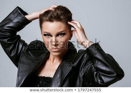 Brutális smink csinos fiatal nő tart szempilla Stock fotó © Fisher