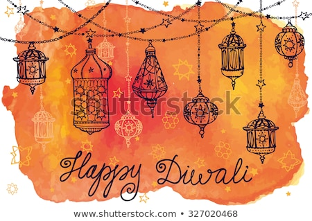 Stock photo: watercolor splash with hanging diwali lamps vector background