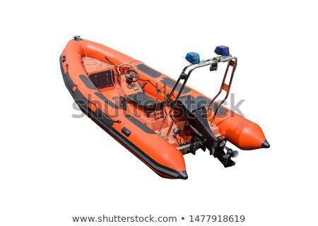 Blauw oranje snelheid motorboot witte patroon Stockfoto © robuart