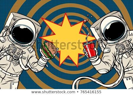 pop · art · homme · manger · Burger · rétro - photo stock © studiostoks