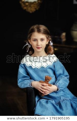 レトロスタイル 写真 2 小さな 女性 少女 ストックフォト © konradbak