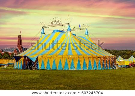 cirkusz · illusztráció · rajz · kék · ég · nyár · zászló - stock fotó © sifis