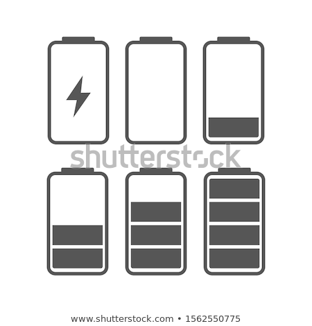 battery charge icon set black background Stock photo © romvo