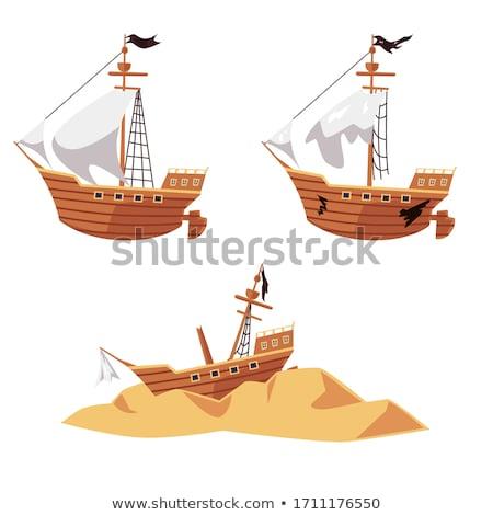 крушение лодка вектора Cartoon иллюстрация небольшой Сток-фото © RAStudio