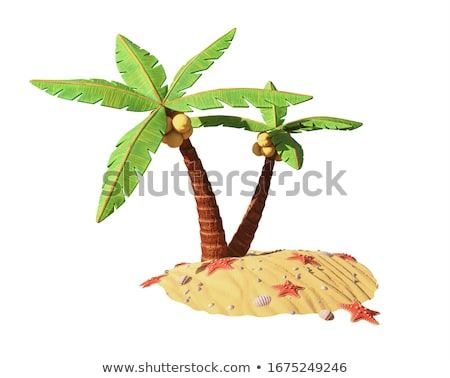 Cartoon illustration of the small tropical island stock photo © Natali_Brill