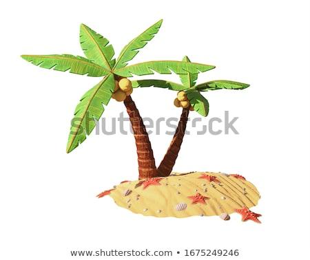 Foto stock: Cartoon · ilustración · pequeño · isla · tropical · océano · cielo