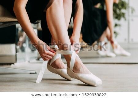 Balletdanser schoen studio vrouw portret vloer Stockfoto © IS2