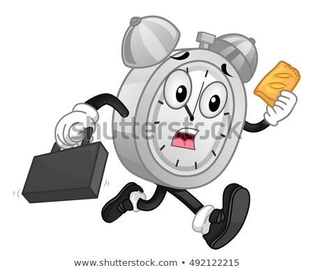 Mascot Alarm Clock Run Late Hand Pies Stock photo © lenm