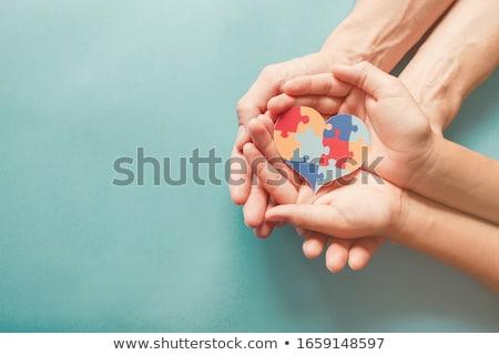 Autismus Symbol Spektrum Schmetterling unter Puzzle Stock foto © Lightsource