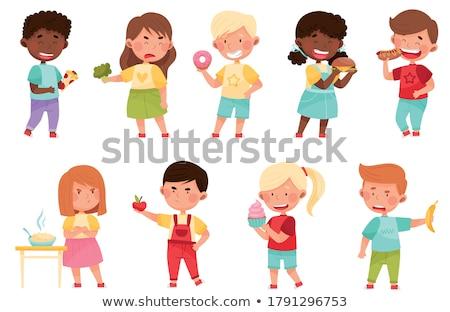 Ayarlamak çocuk yeme sağlıksız gıda örnek gıda Stok fotoğraf © bluering
