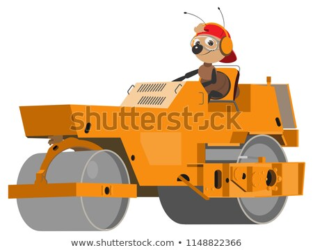 ant road worker is running an asphalt compactor stock photo © orensila