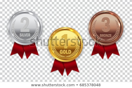 Champion Bronze Medal with Red Ribbon Icon Sign. Third Place Collection Set Isolated on Transparent  stock photo © olehsvetiukha