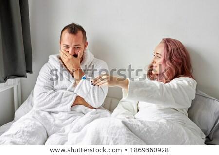 Pár meghitt ágy romantikus fiatal pér nő Stock fotó © AndreyPopov