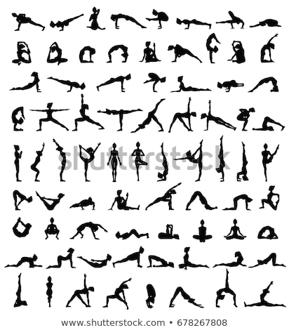 Yoga silhouet ingesteld zwarte silhouetten sport Stockfoto © robuart
